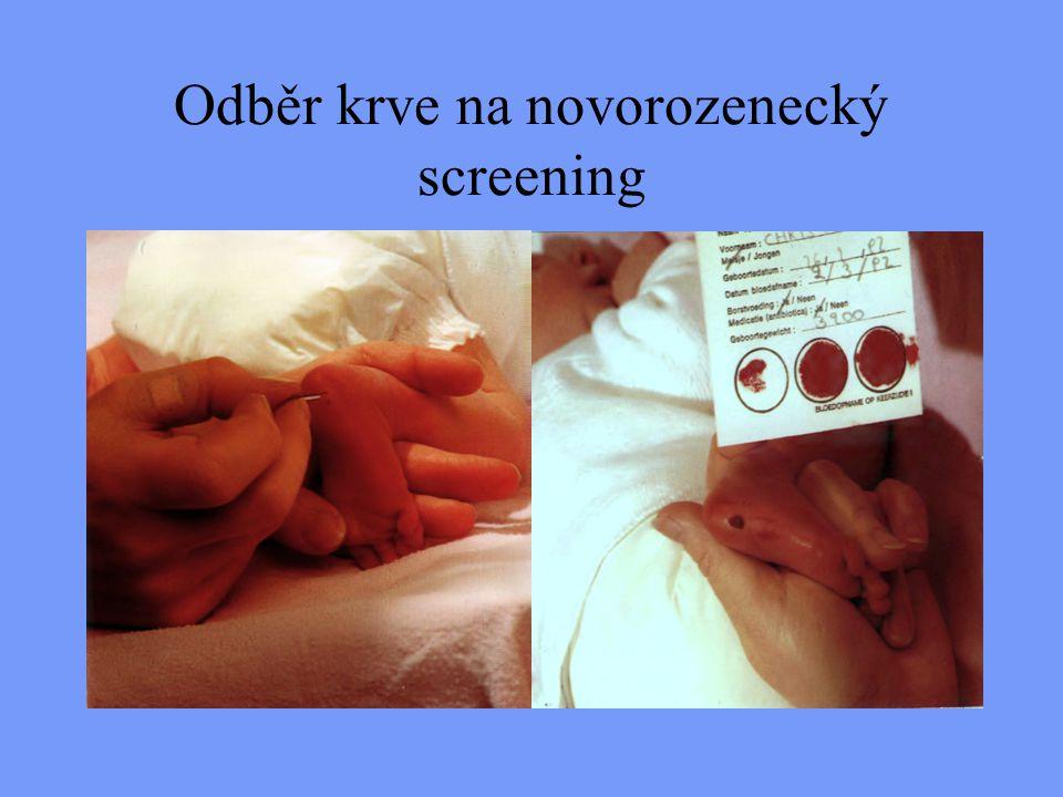 Odběr krve na novorozenecký screening