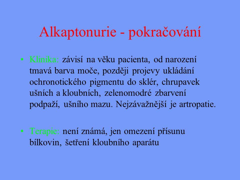 Alkaptonurie - pokračování