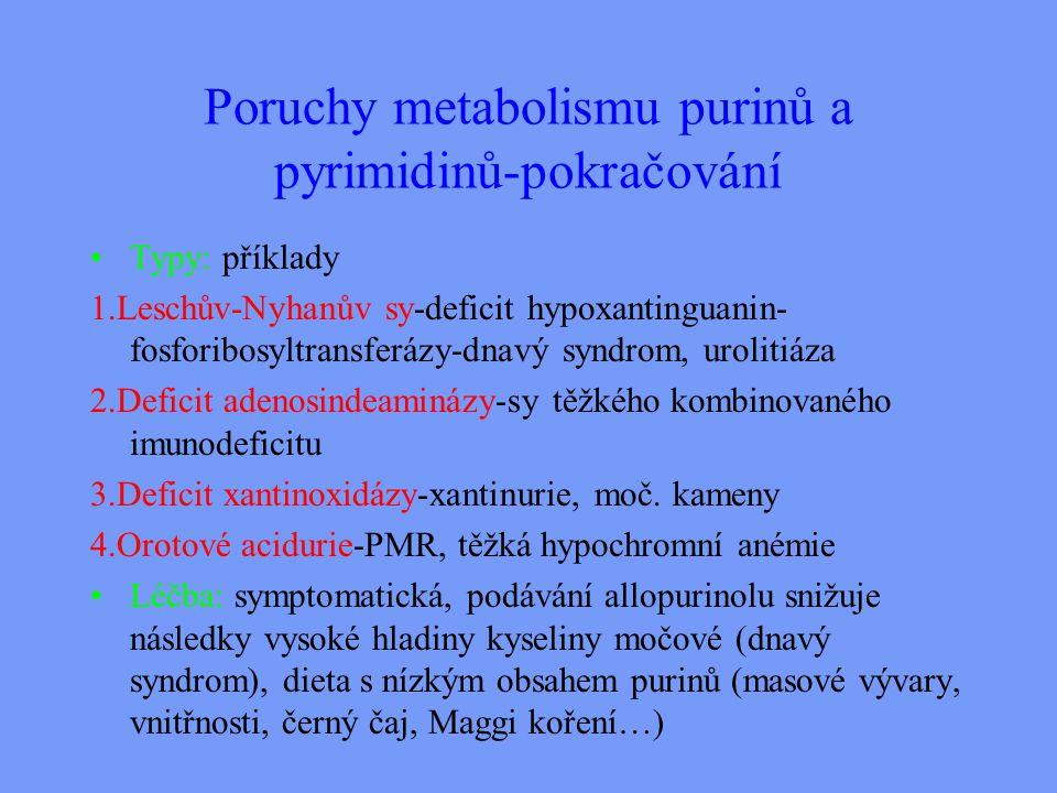 Poruchy metabolismu purinů a pyrimidinů-pokračování