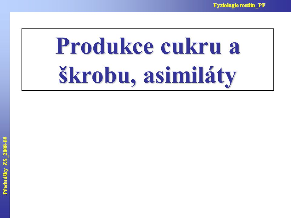 Produkce cukru a škrobu, asimiláty