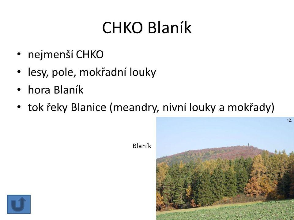 CHKO Blaník nejmenší CHKO lesy, pole, mokřadní louky hora Blaník
