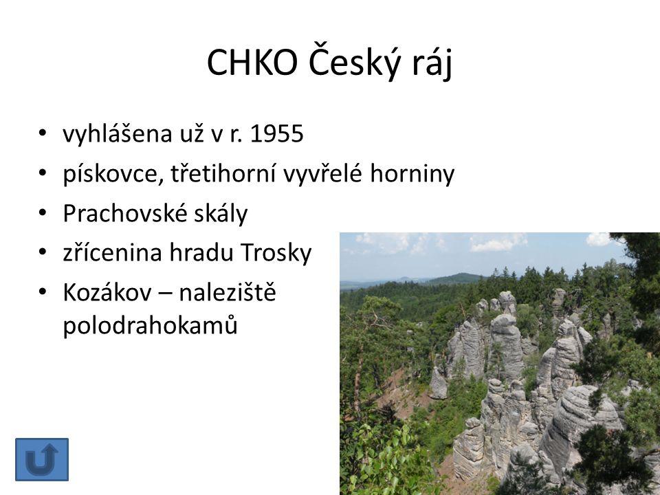 CHKO Český ráj vyhlášena už v r. 1955
