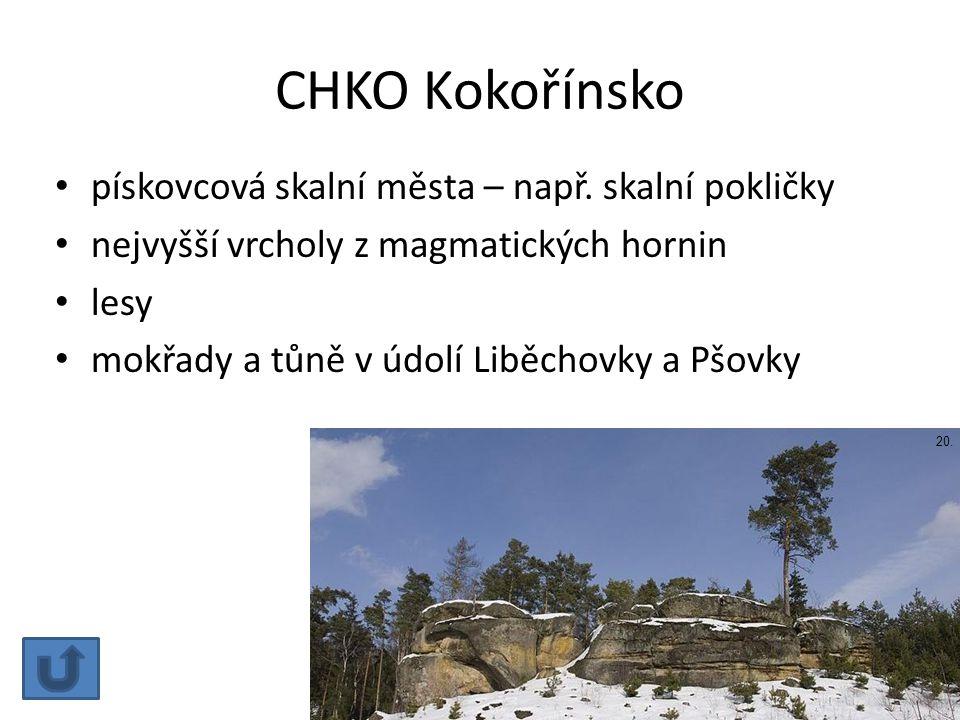 CHKO Kokořínsko pískovcová skalní města – např. skalní pokličky