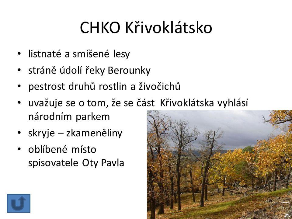 CHKO Křivoklátsko listnaté a smíšené lesy stráně údolí řeky Berounky