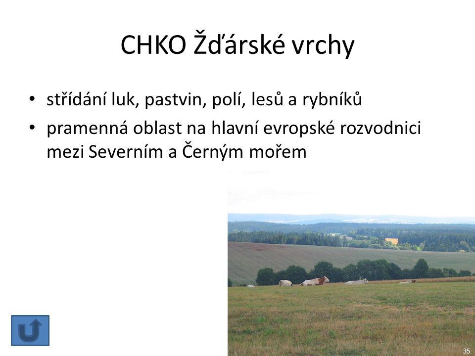 CHKO Žďárské vrchy střídání luk, pastvin, polí, lesů a rybníků
