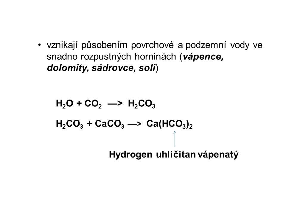 vznikají působením povrchové a podzemní vody ve snadno rozpustných horninách (vápence, dolomity, sádrovce, soli)