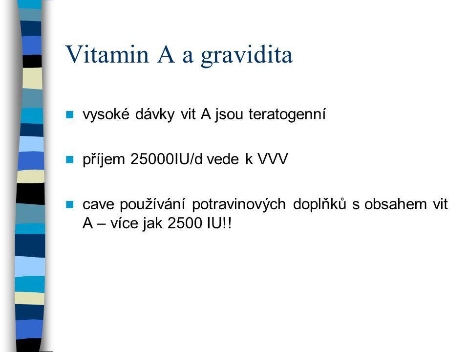 Vitamin A a gravidita vysoké dávky vit A jsou teratogenní