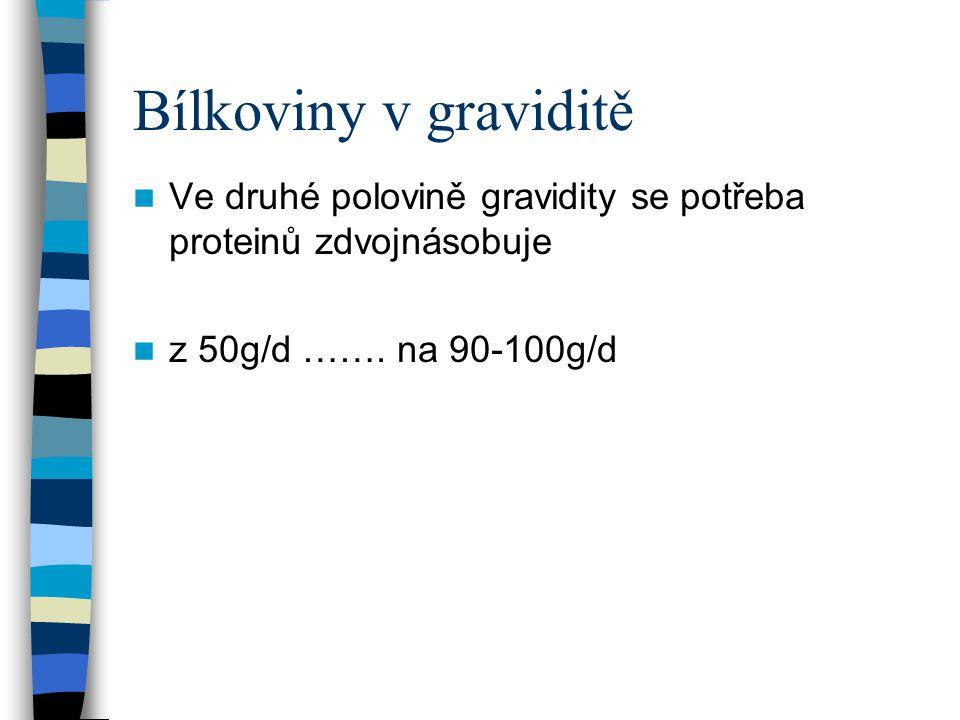 Bílkoviny v graviditě Ve druhé polovině gravidity se potřeba proteinů zdvojnásobuje.