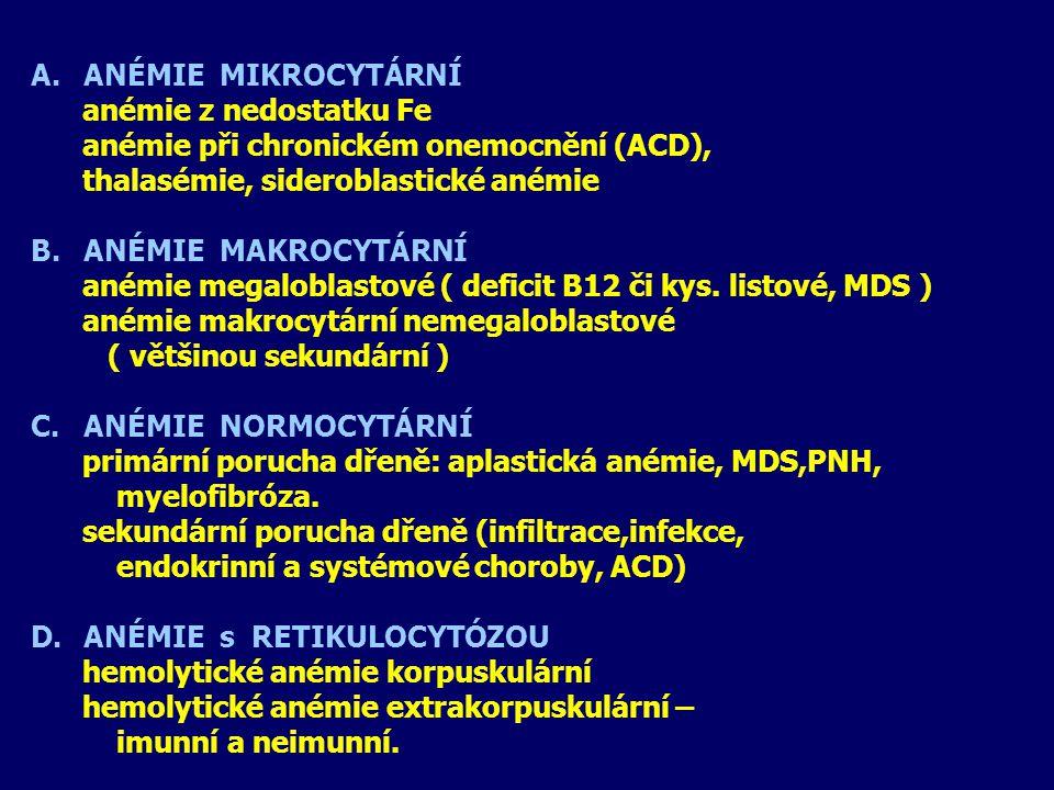 ANÉMIE MIKROCYTÁRNÍ anémie z nedostatku Fe. anémie při chronickém onemocnění (ACD), thalasémie, sideroblastické anémie.
