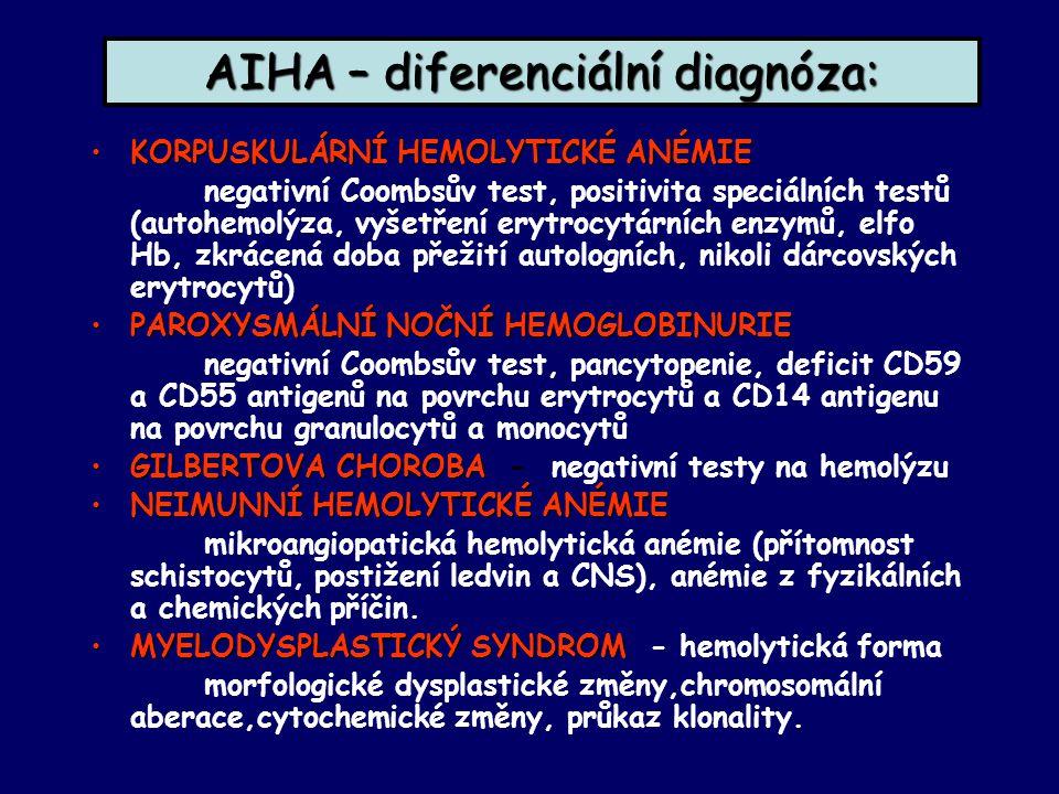 AIHA – diferenciální diagnóza: