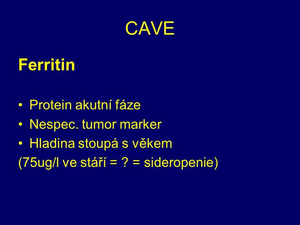 CAVE Ferritin Protein akutní fáze Nespec. tumor marker