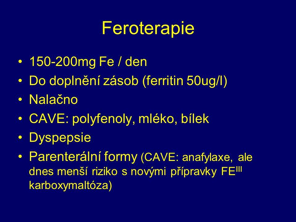 Feroterapie 150-200mg Fe / den Do doplnění zásob (ferritin 50ug/l)