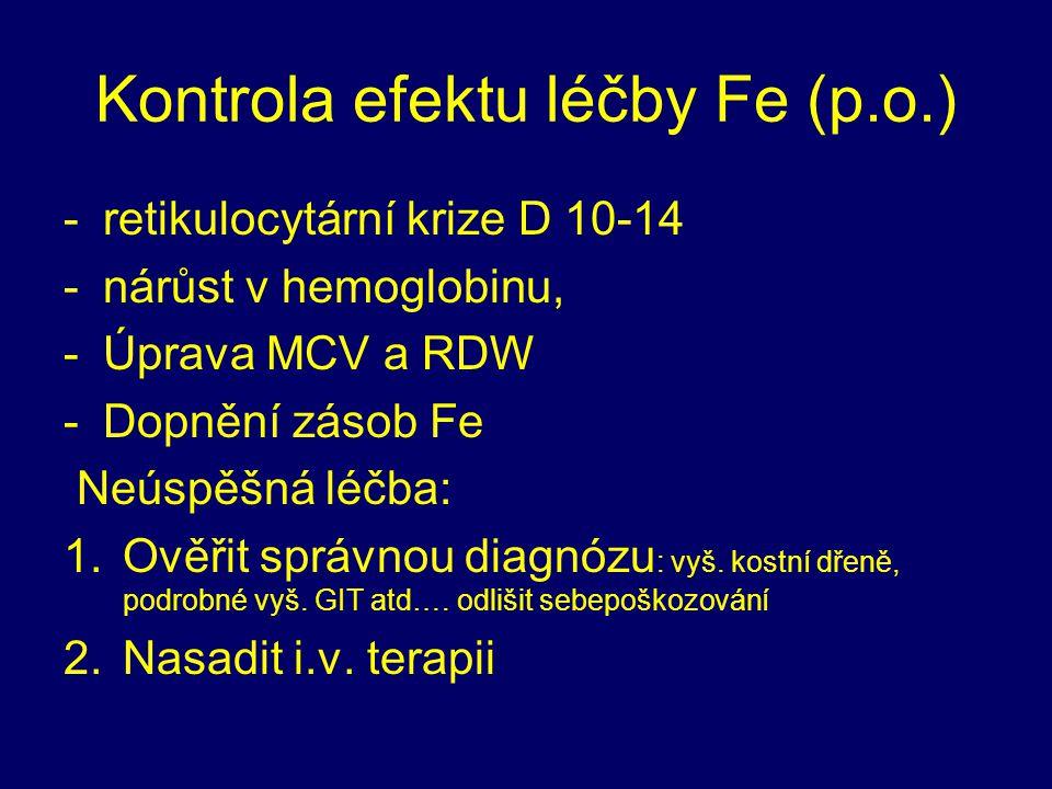 Kontrola efektu léčby Fe (p.o.)