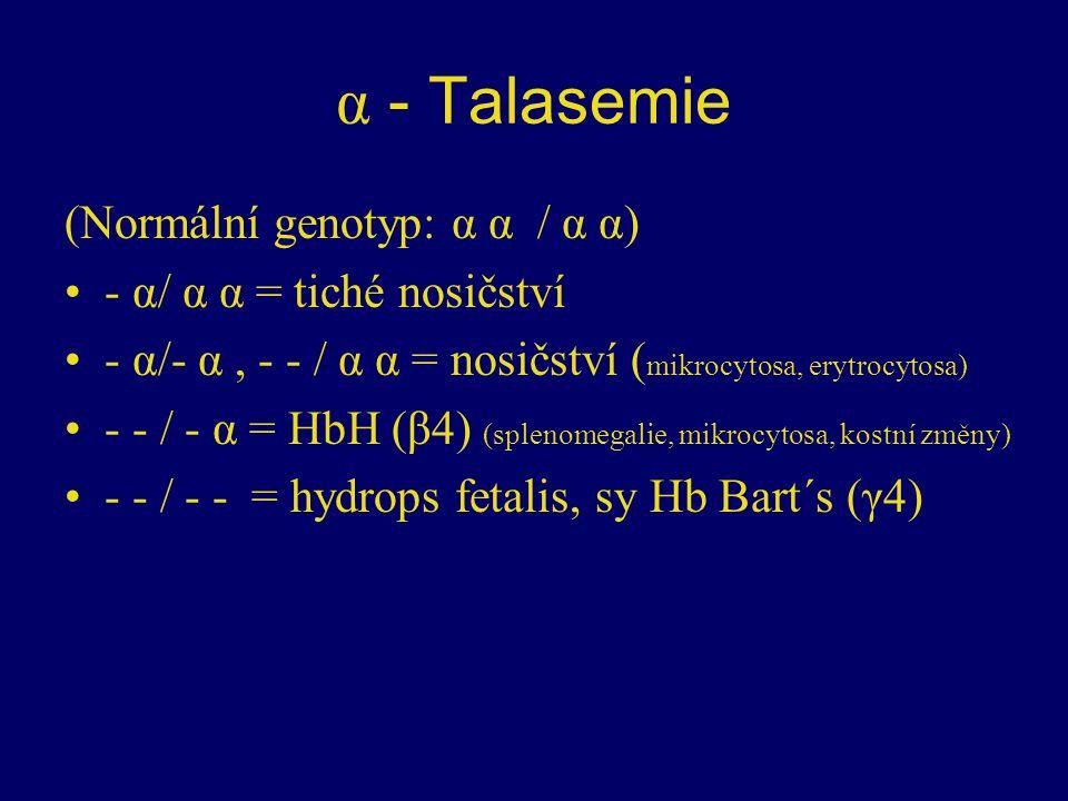 α - Talasemie (Normální genotyp: α α / α α) - α/ α α = tiché nosičství