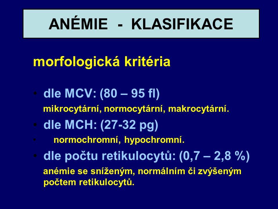 ANÉMIE - KLASIFIKACE morfologická kritéria dle MCV: (80 – 95 fl)