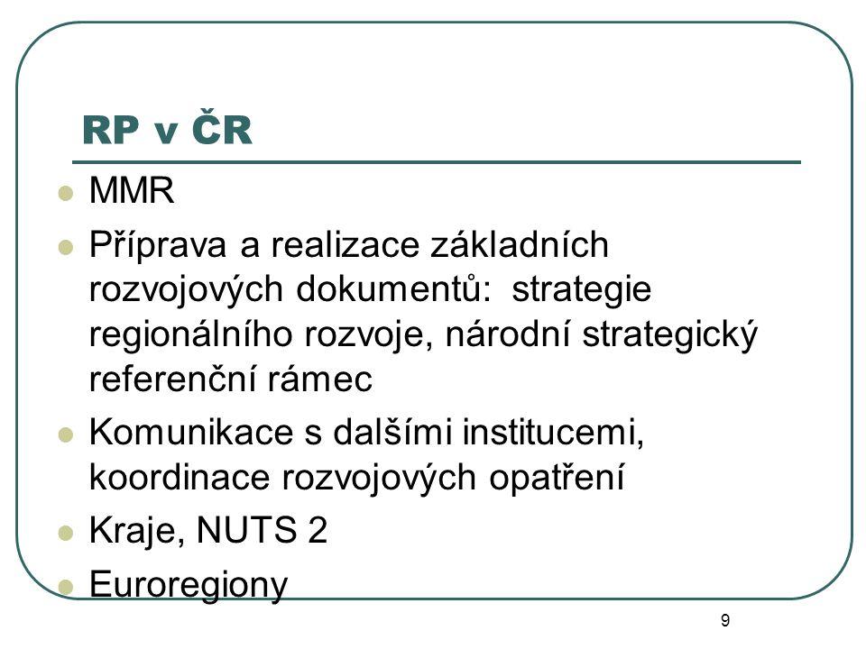 RP v ČR MMR. Příprava a realizace základních rozvojových dokumentů: strategie regionálního rozvoje, národní strategický referenční rámec.