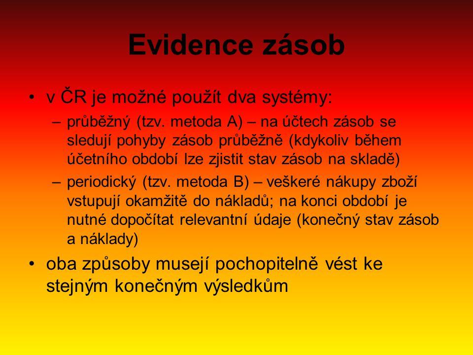 Evidence zásob v ČR je možné použít dva systémy: