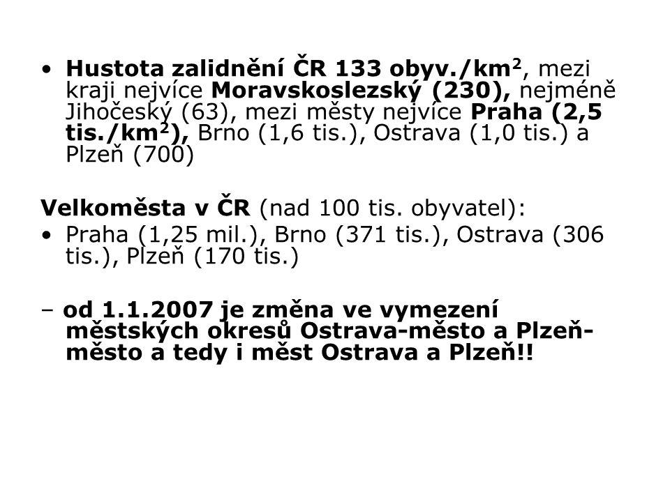 Hustota zalidnění ČR 133 obyv