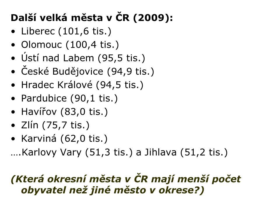 Další velká města v ČR (2009):