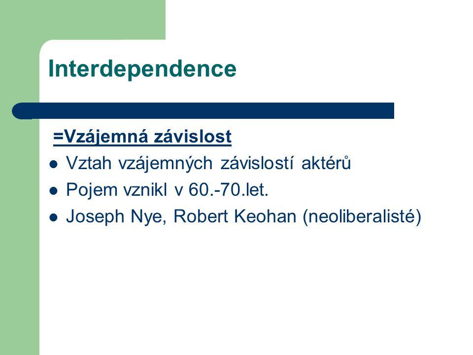 Interdependence =Vzájemná závislost Vztah vzájemných závislostí aktérů
