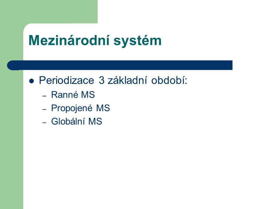 Mezinárodní systém Periodizace 3 základní období: Ranné MS