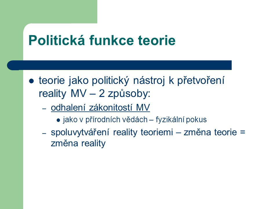 Politická funkce teorie