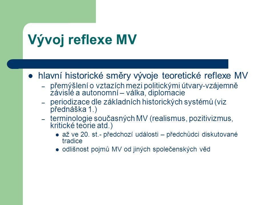 Vývoj reflexe MV hlavní historické směry vývoje teoretické reflexe MV