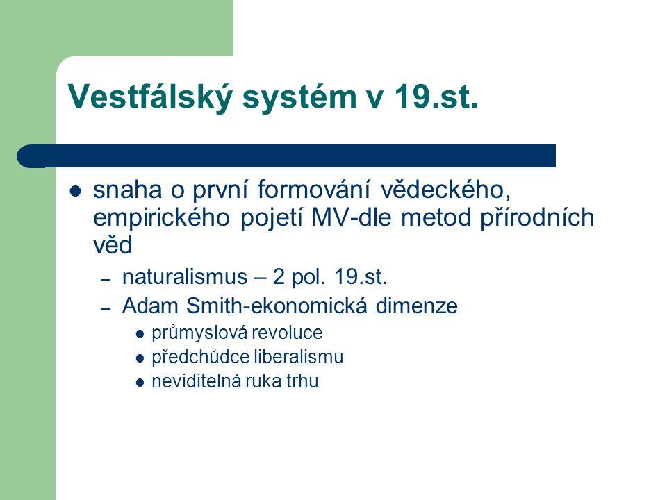 Vestfálský systém v 19.st. snaha o první formování vědeckého, empirického pojetí MV-dle metod přírodních věd.
