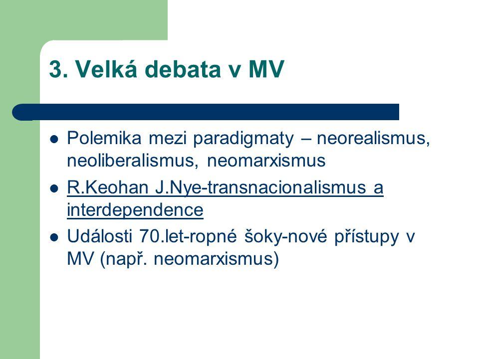 3. Velká debata v MV Polemika mezi paradigmaty – neorealismus, neoliberalismus, neomarxismus. R.Keohan J.Nye-transnacionalismus a interdependence.