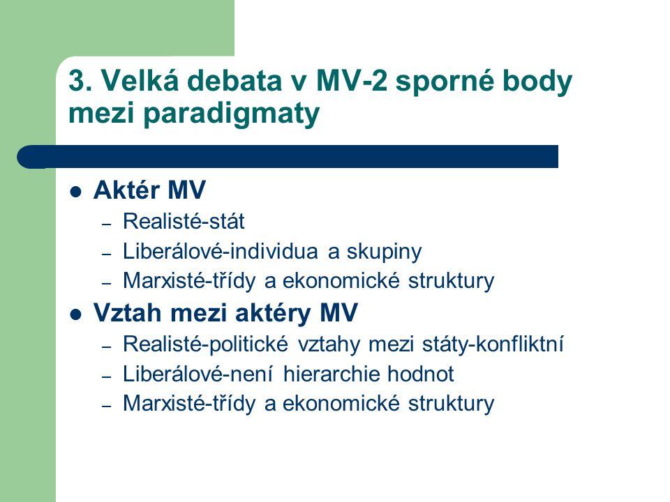 3. Velká debata v MV-2 sporné body mezi paradigmaty