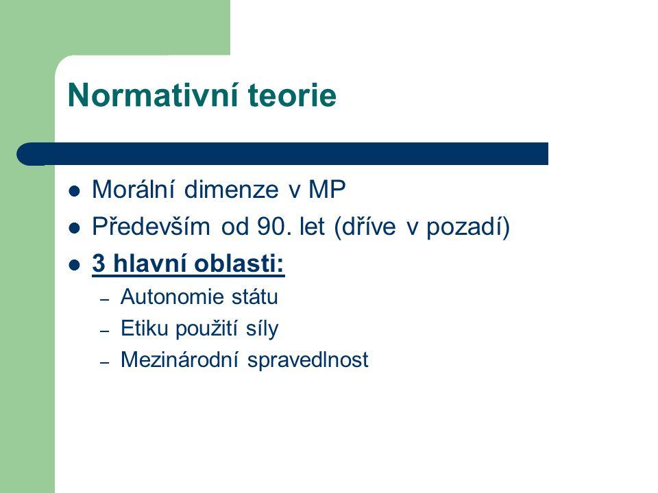 Normativní teorie Morální dimenze v MP