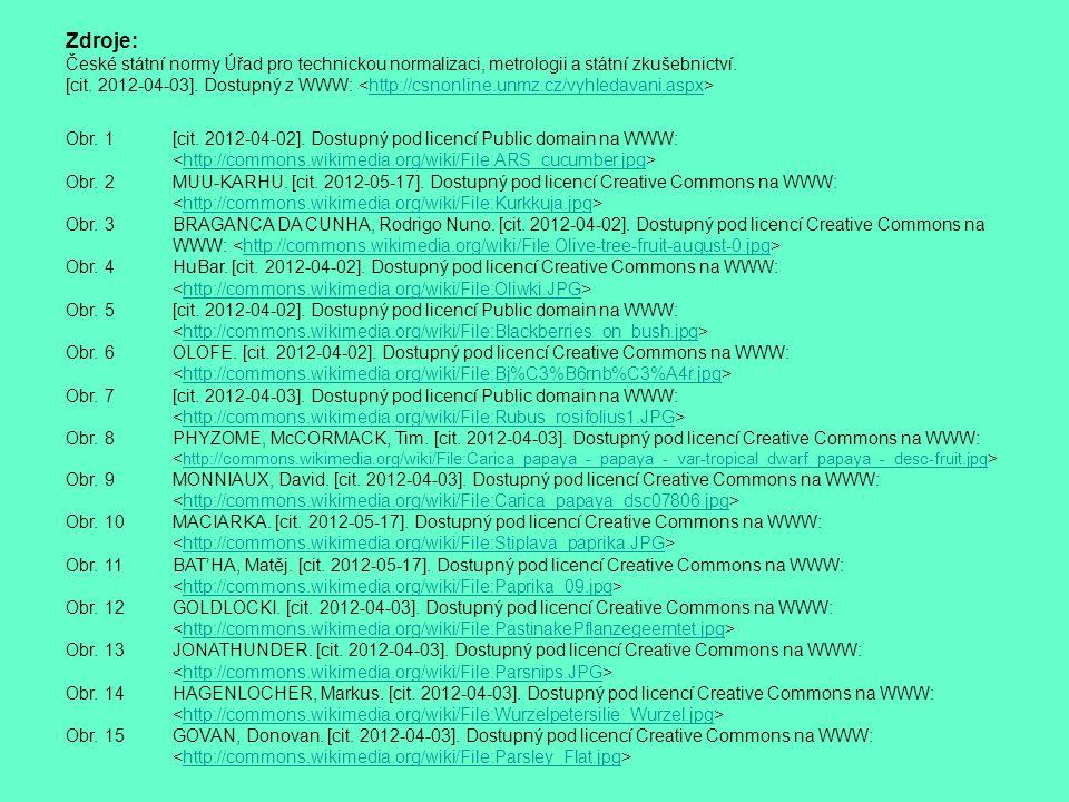 Zdroje: České státní normy Úřad pro technickou normalizaci, metrologii a státní zkušebnictví.
