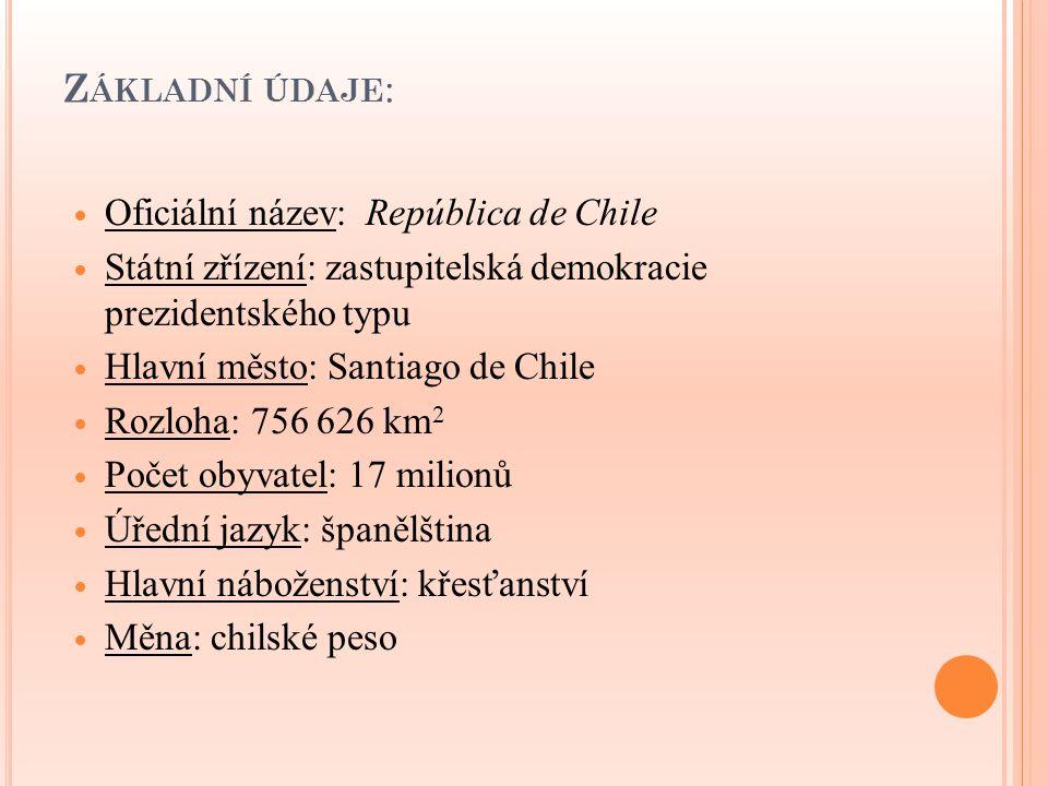 Základní údaje: Oficiální název: República de Chile