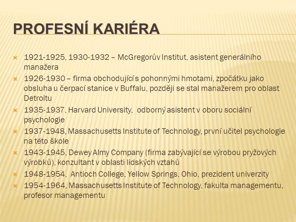 PROFESNÍ KARIÉRA 1921-1925, 1930-1932 – McGregorův Institut, asistent generálního manažera.