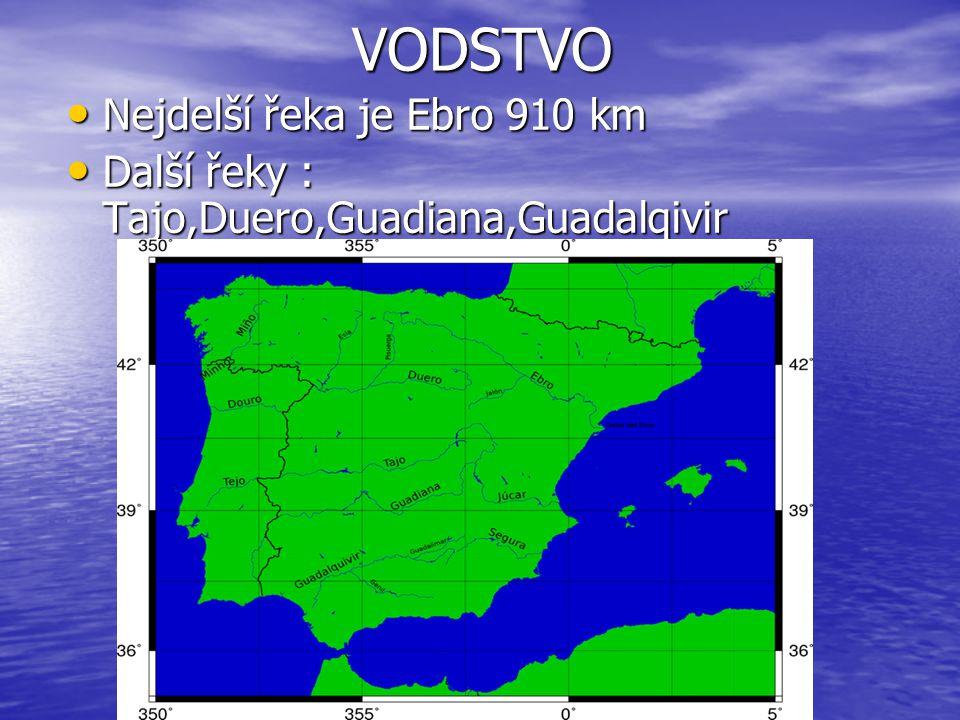 VODSTVO Nejdelší řeka je Ebro 910 km