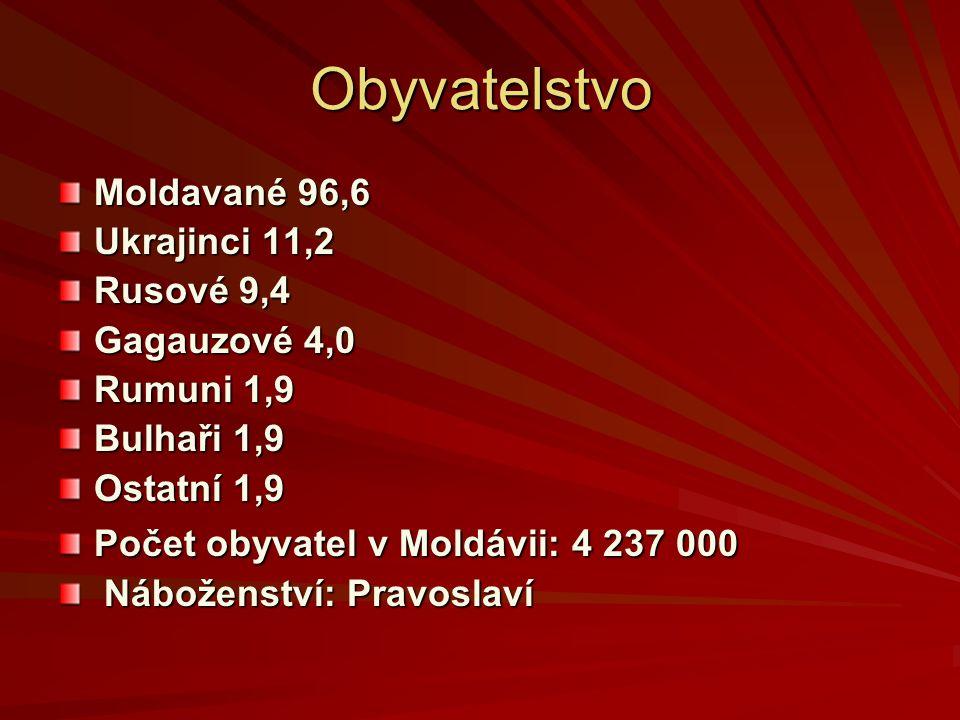 Obyvatelstvo Moldavané 96,6 Ukrajinci 11,2 Rusové 9,4 Gagauzové 4,0