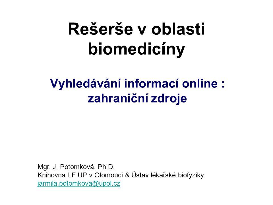 Rešerše v oblasti biomedicíny