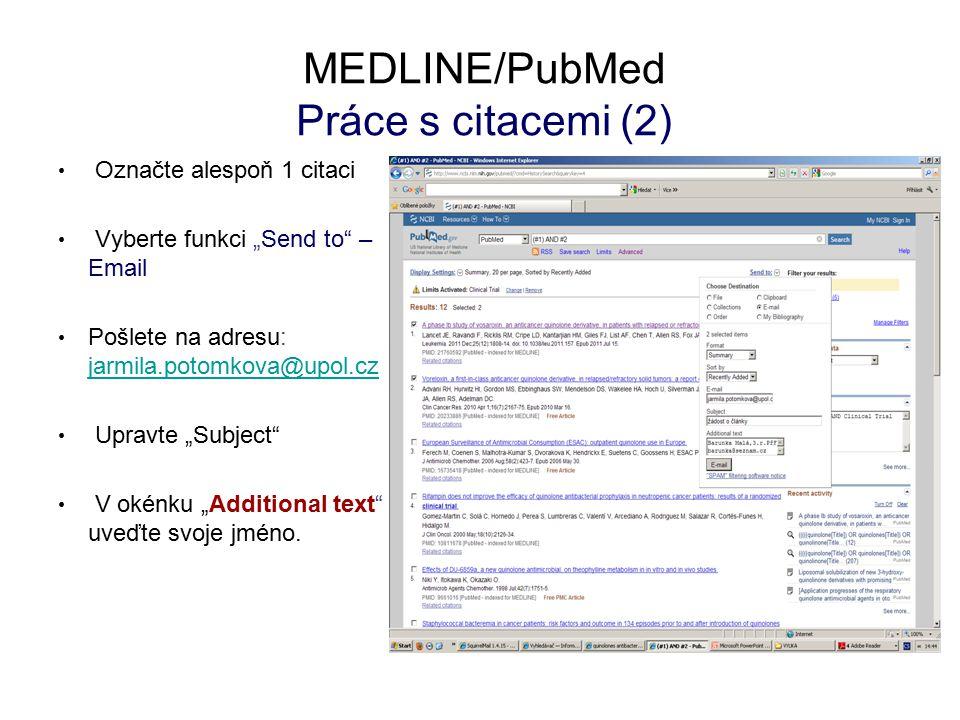 MEDLINE/PubMed Práce s citacemi (2)