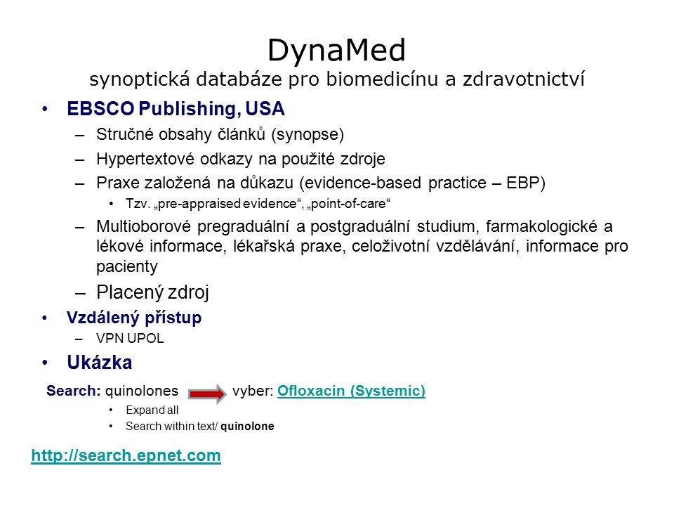 DynaMed synoptická databáze pro biomedicínu a zdravotnictví