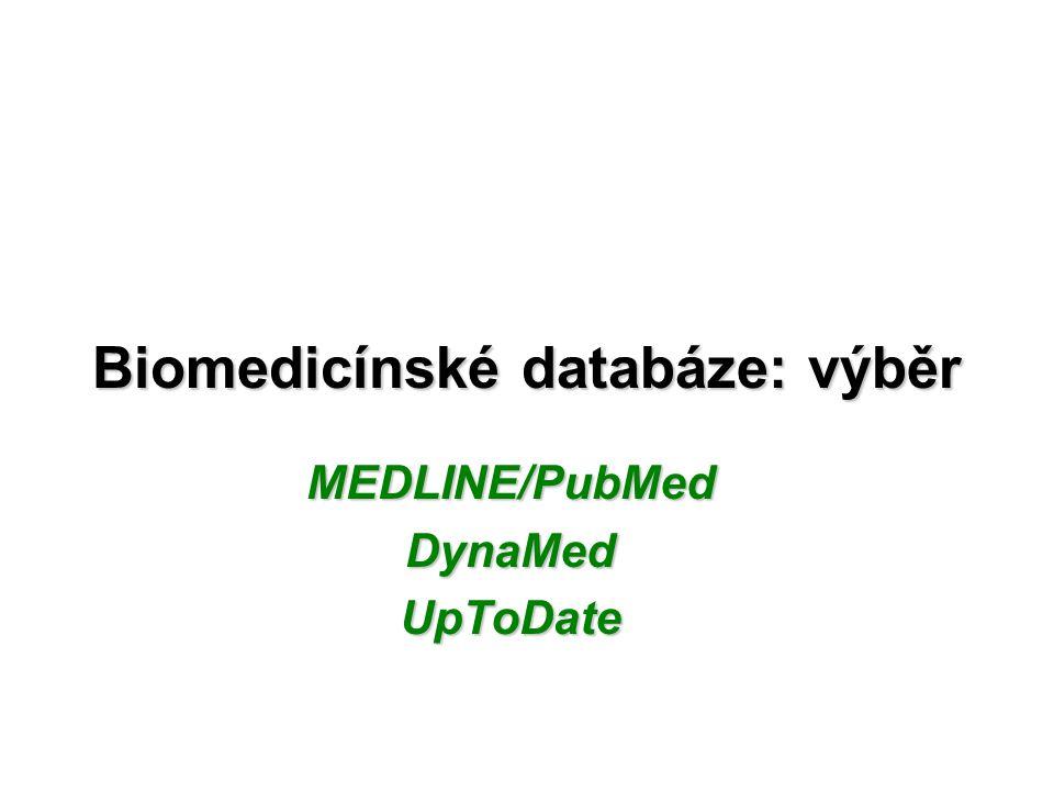 Biomedicínské databáze: výběr