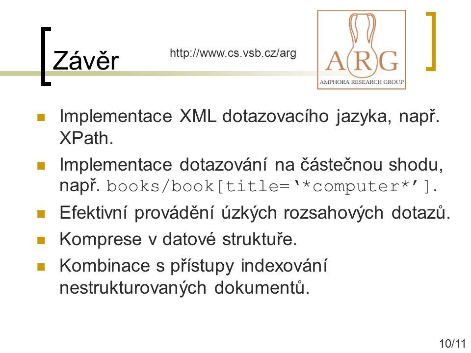 Závěr Implementace XML dotazovacího jazyka, např. XPath.