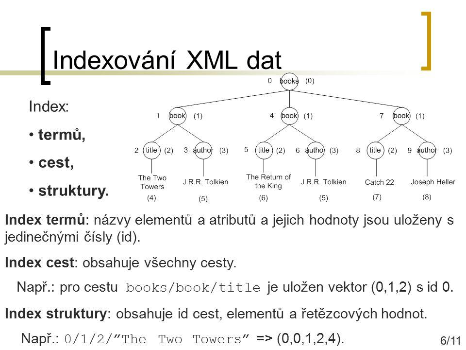 Indexování XML dat Index: termů, cest, struktury.