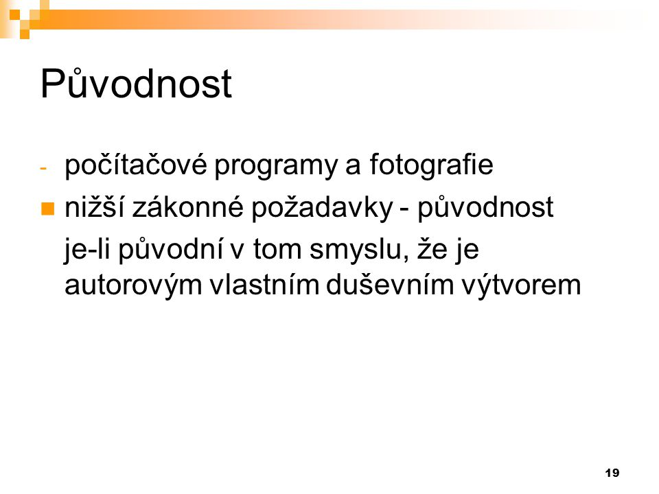 Původnost počítačové programy a fotografie
