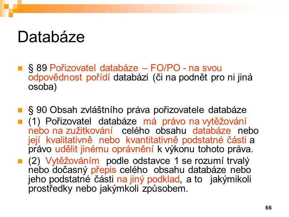 Databáze § 89 Pořizovatel databáze – FO/PO - na svou odpovědnost pořídí databázi (či na podnět pro ni jiná osoba)