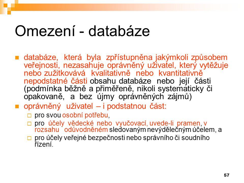 Omezení - databáze