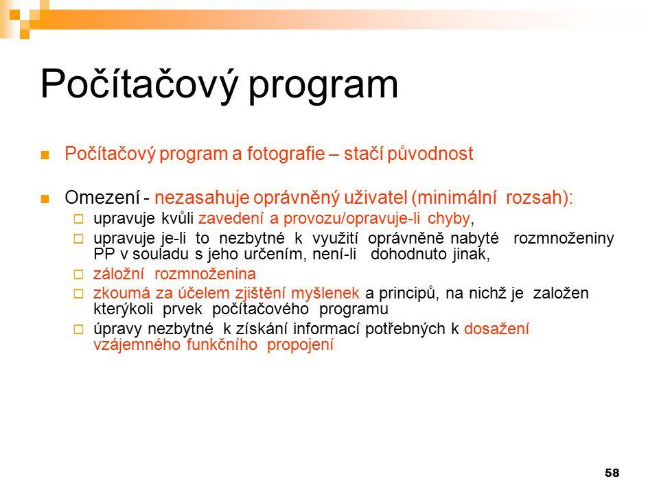 Počítačový program Počítačový program a fotografie – stačí původnost