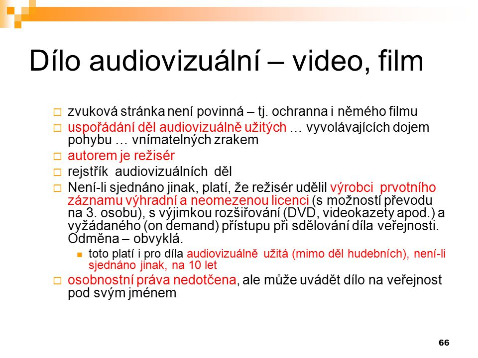 Dílo audiovizuální – video, film