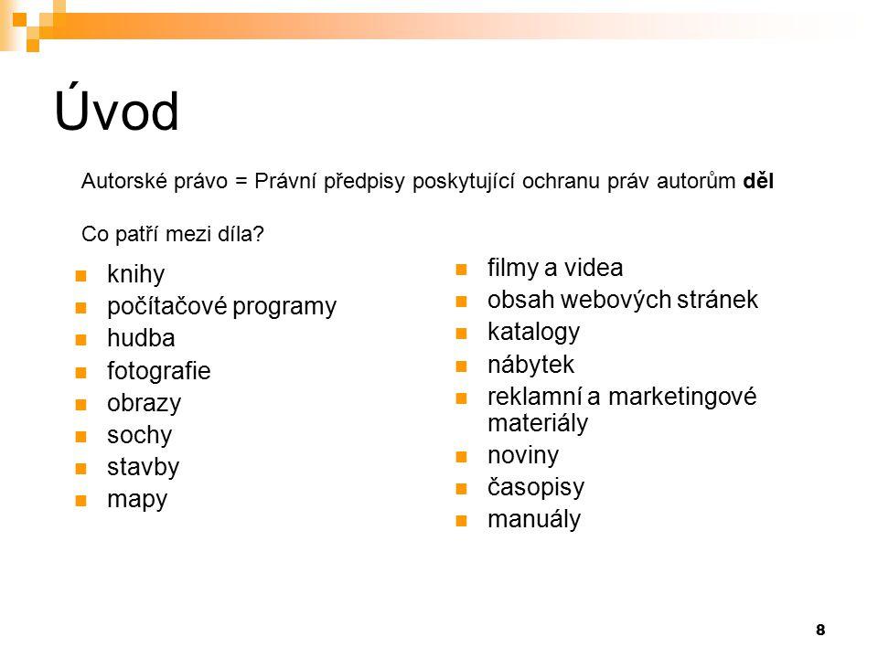 Úvod filmy a videa knihy obsah webových stránek počítačové programy