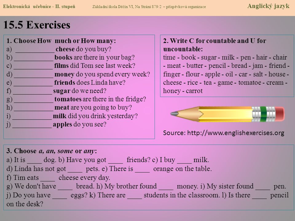15.5 Exercises Source: http://www.englishexercises.org
