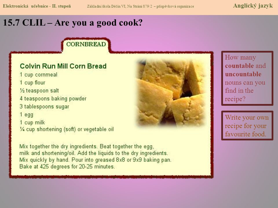 15.7 CLIL – Are you a good cook
